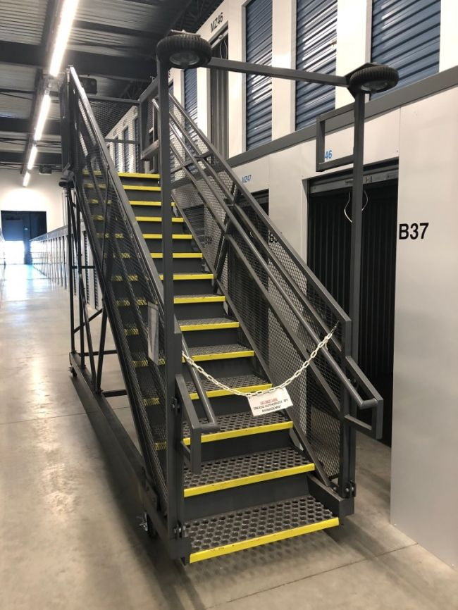 rolling staircase for mezzanine storage